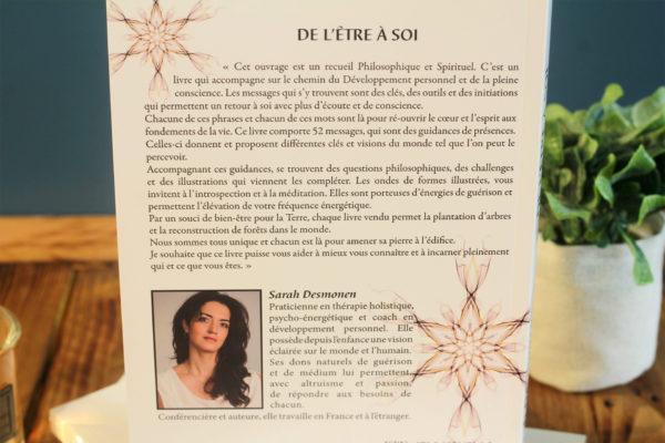 4ème de couverture du livre de l'Être à Soi - auteure Sarah Desmonen